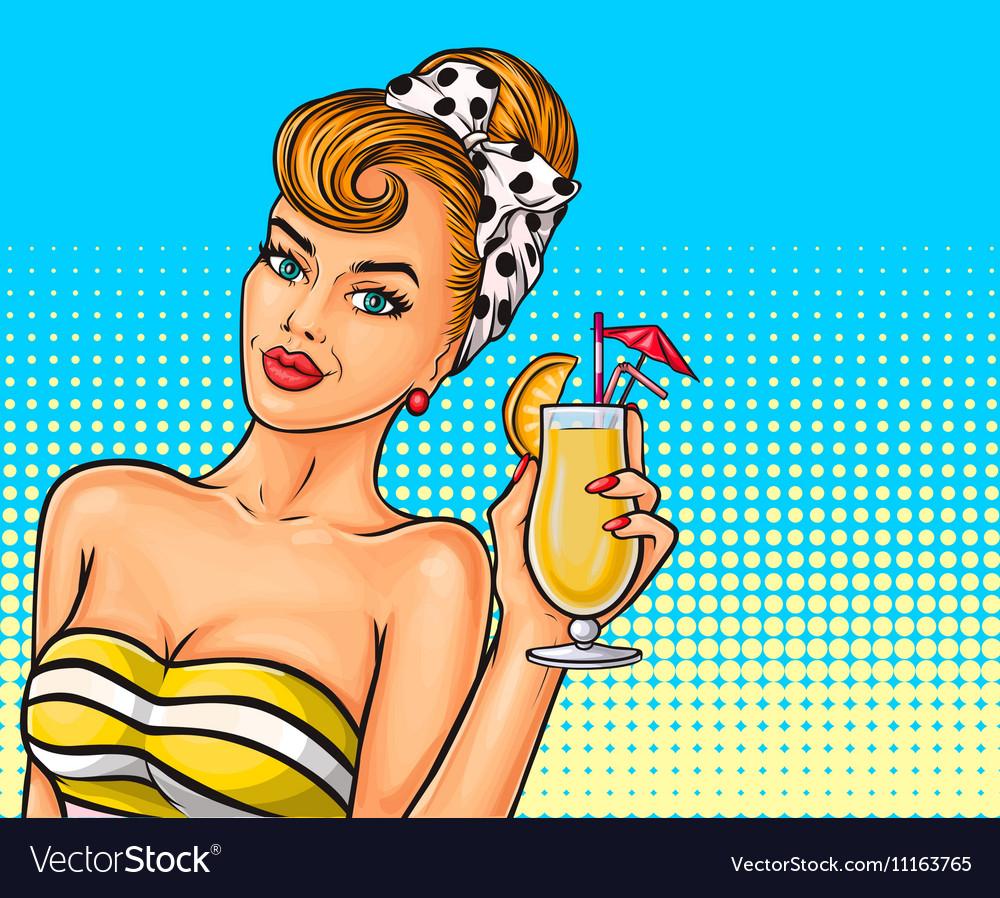 Pop art sexy girl vector image