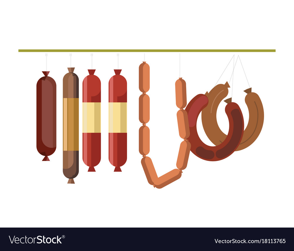 Sausages meat counter display or butcher shop