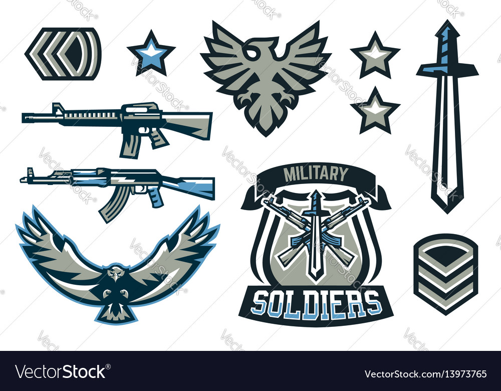 Set military and military badges emblems