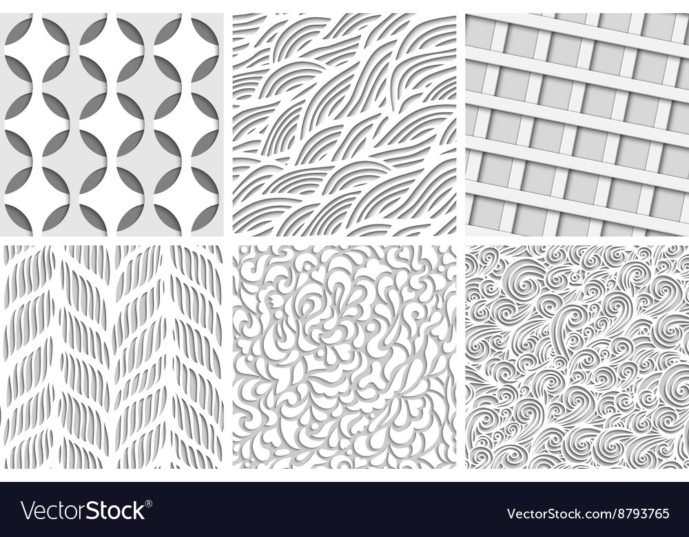 Set of eight seamless backgrounds vector image