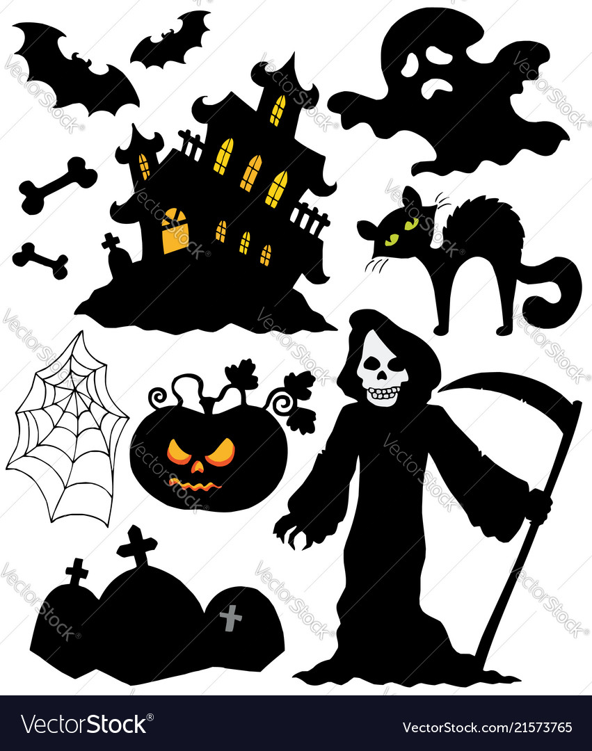 Set Of Halloween Silhouettes Royalty Free Vector Image