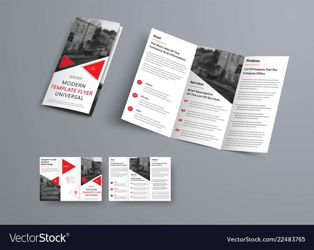 Tri Fold Brochure Template In Modern Style With Vector Image