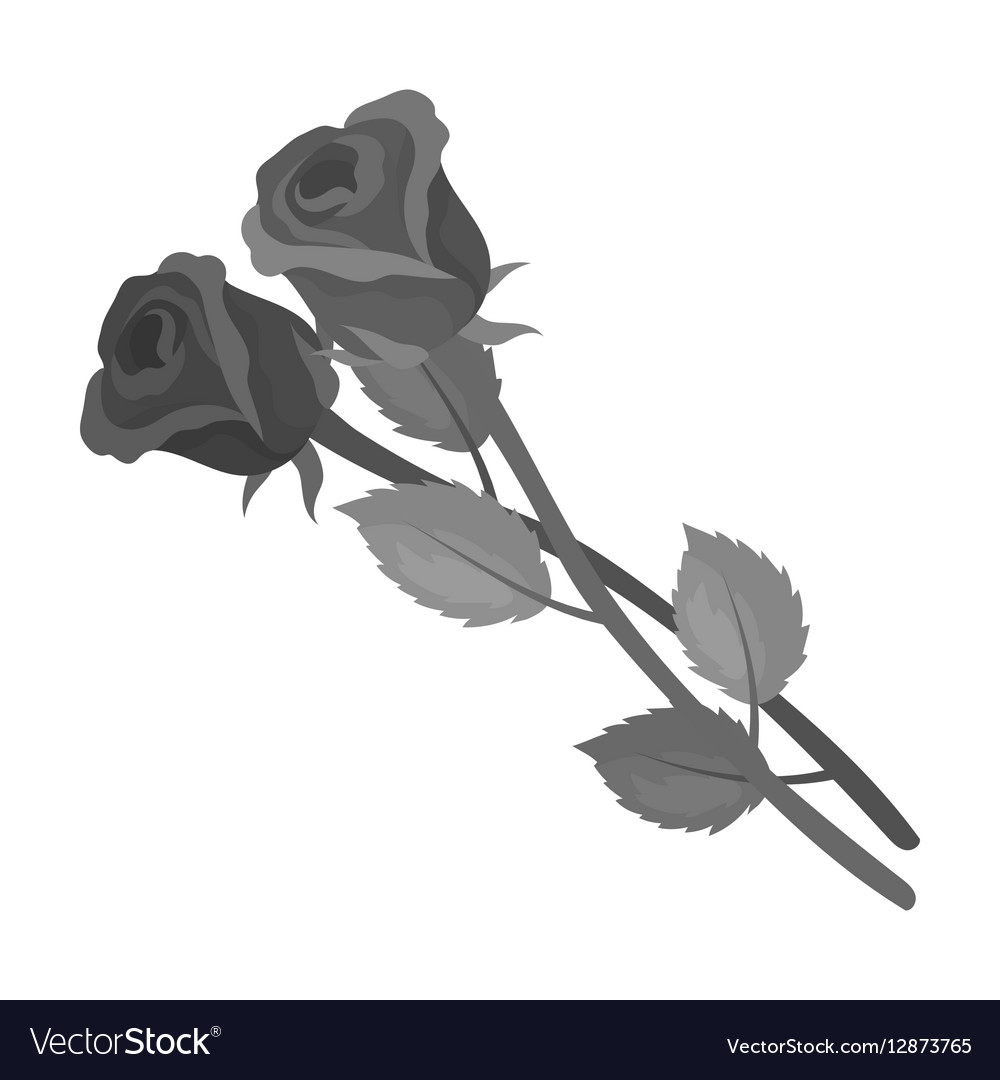 ffcceab22 Two roses icon in monochrome style isolated on Vector Image