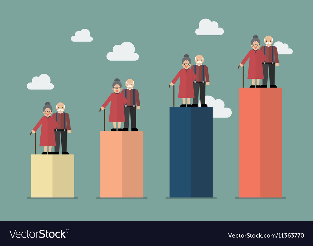 Aging population vector image