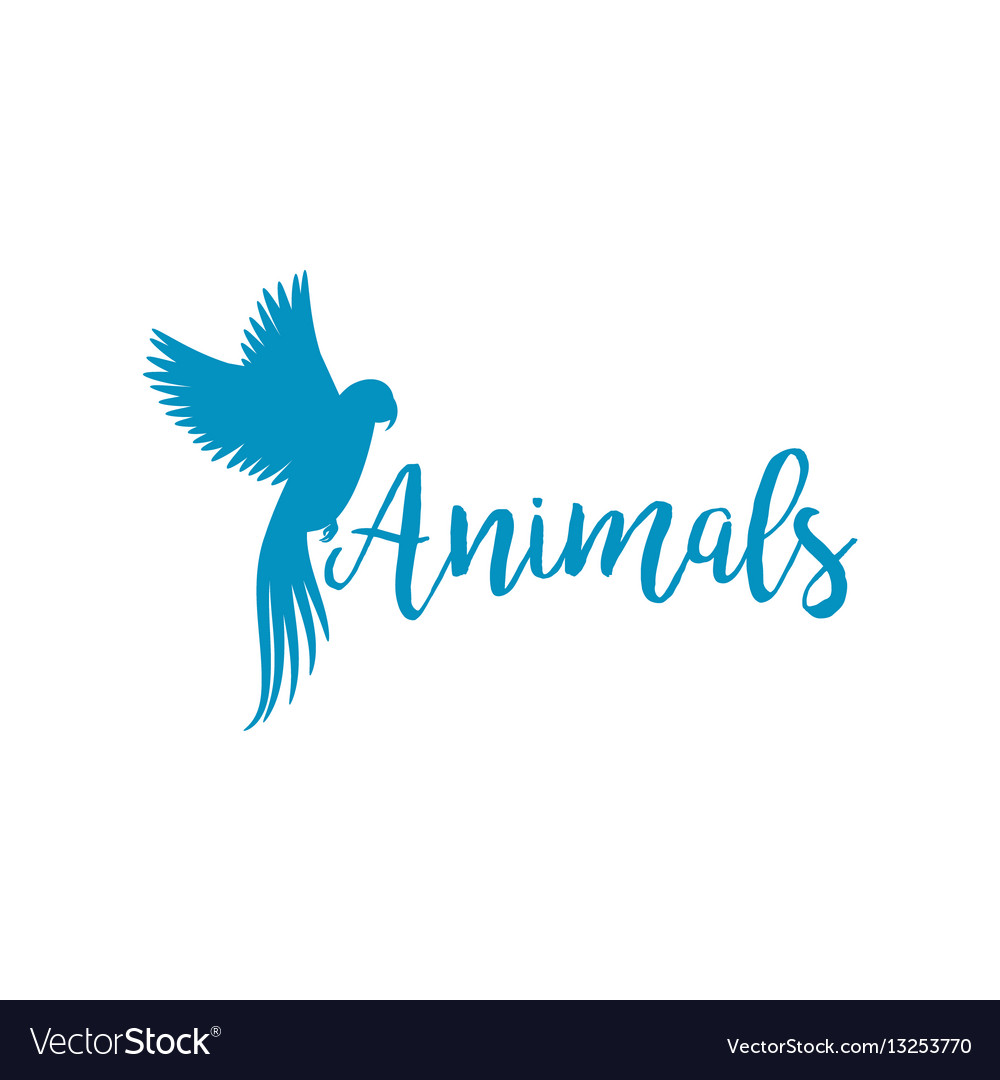 Animals logo template with flying bird Royalty Free Vector
