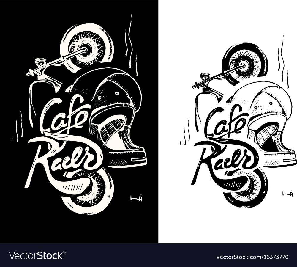 Cafe racer print t-shirt motorcycle helmet vector image