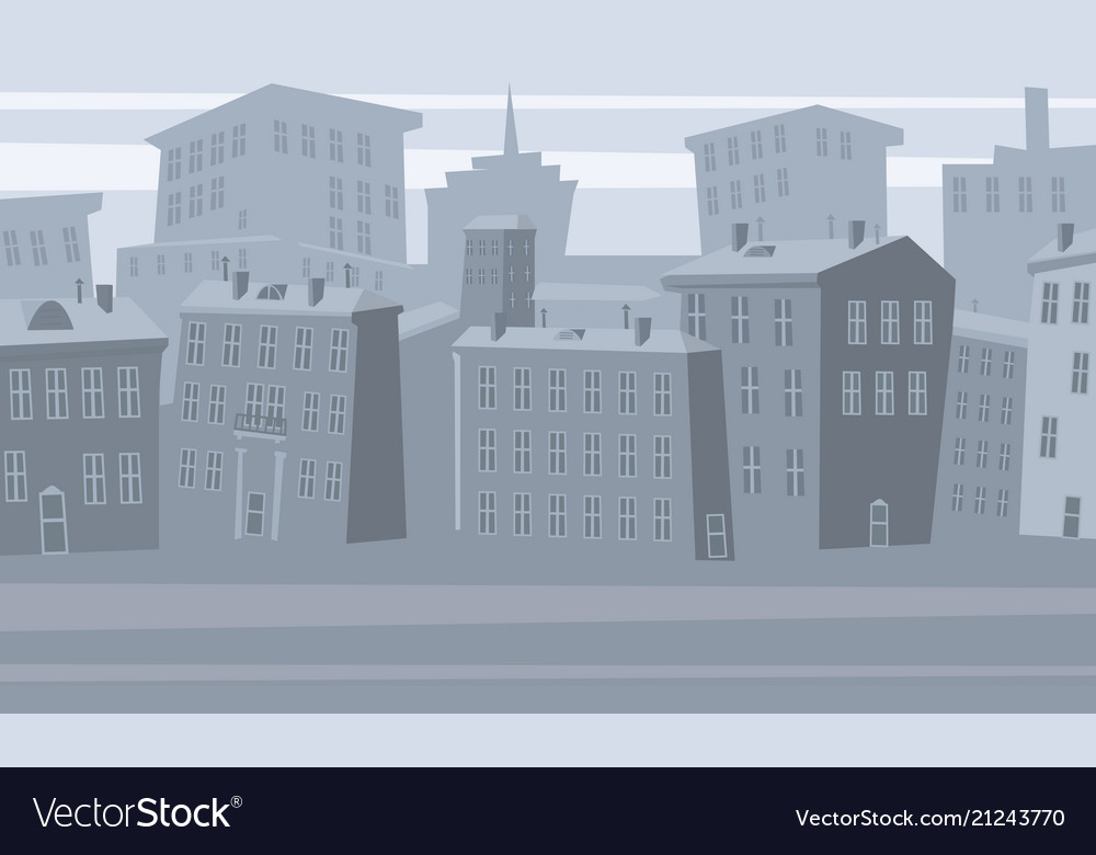 Cartoon cityscape old city skyline