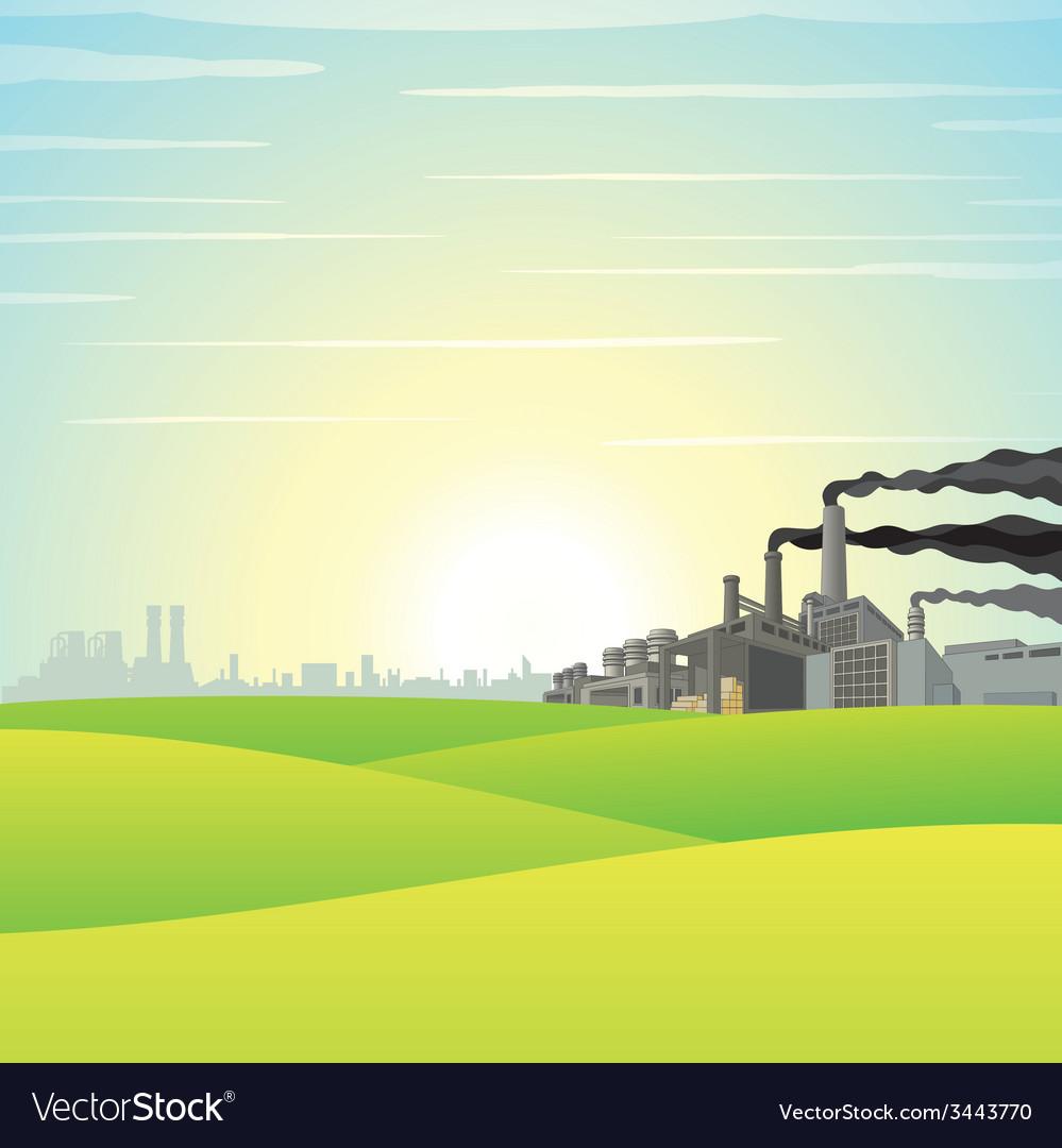 Chemical Factory on Green Meadow vector image