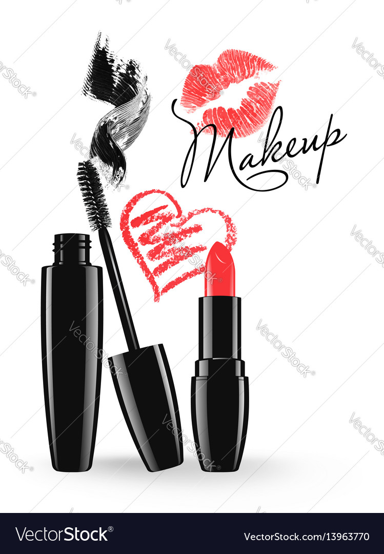 Cosmetic products design mascara and lipstick vector image