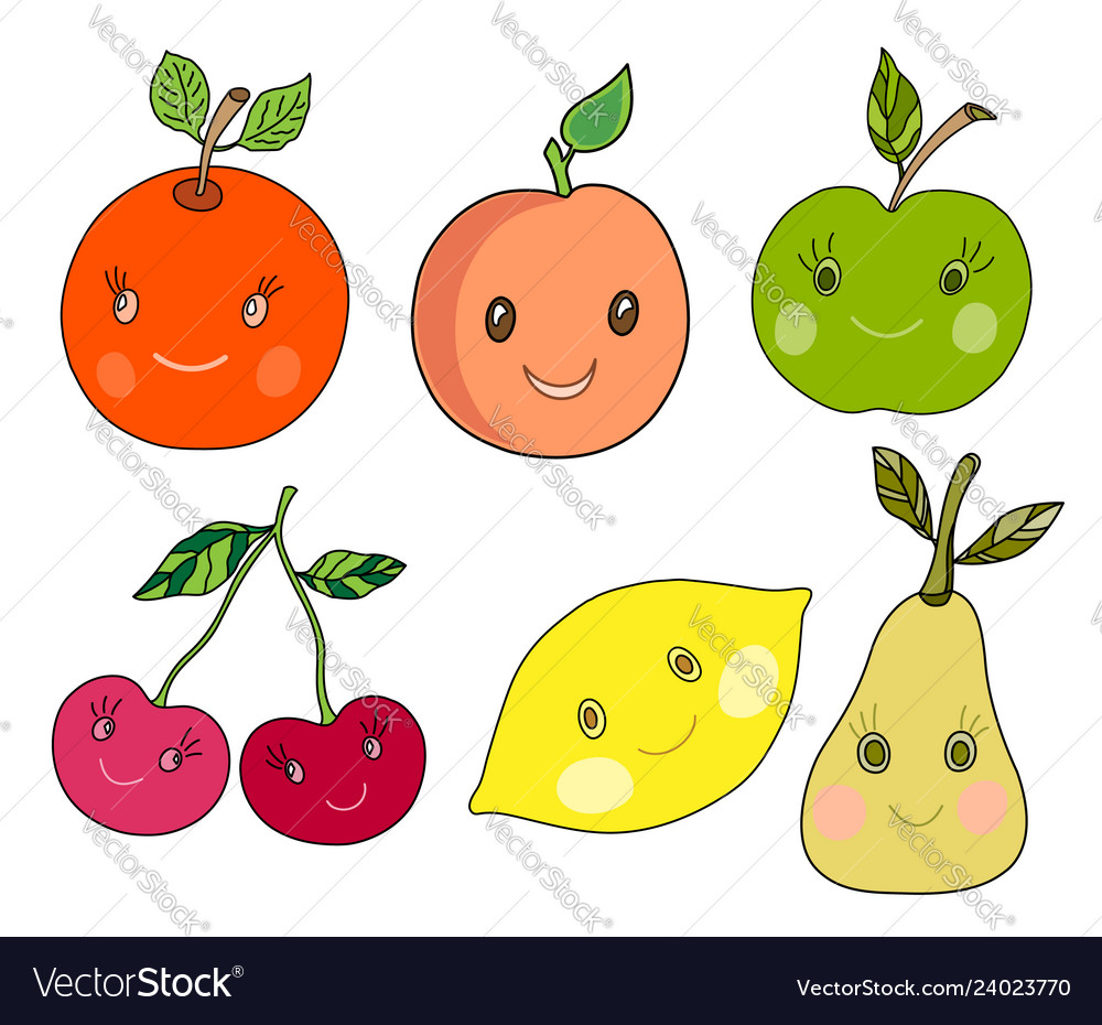 Cute fruit in kawaii style