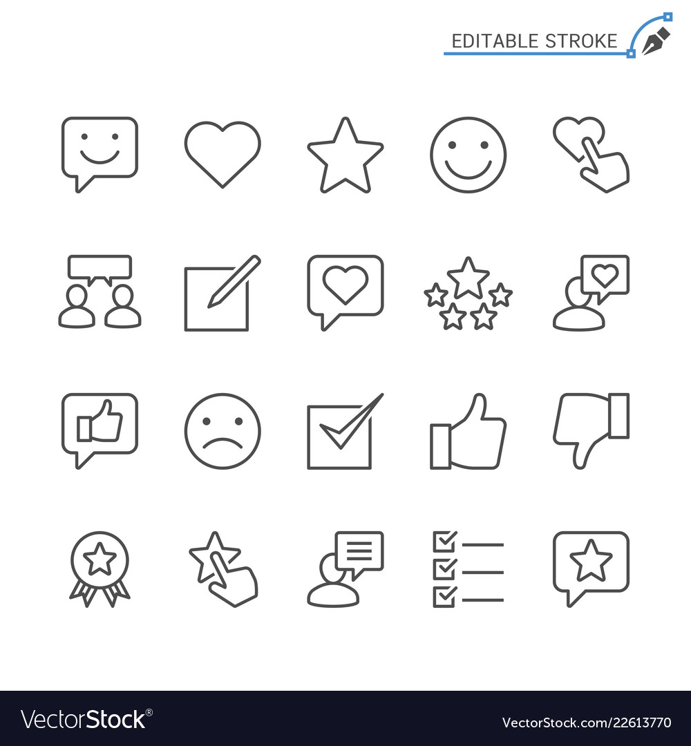 Feedback and review line icons editable stroke