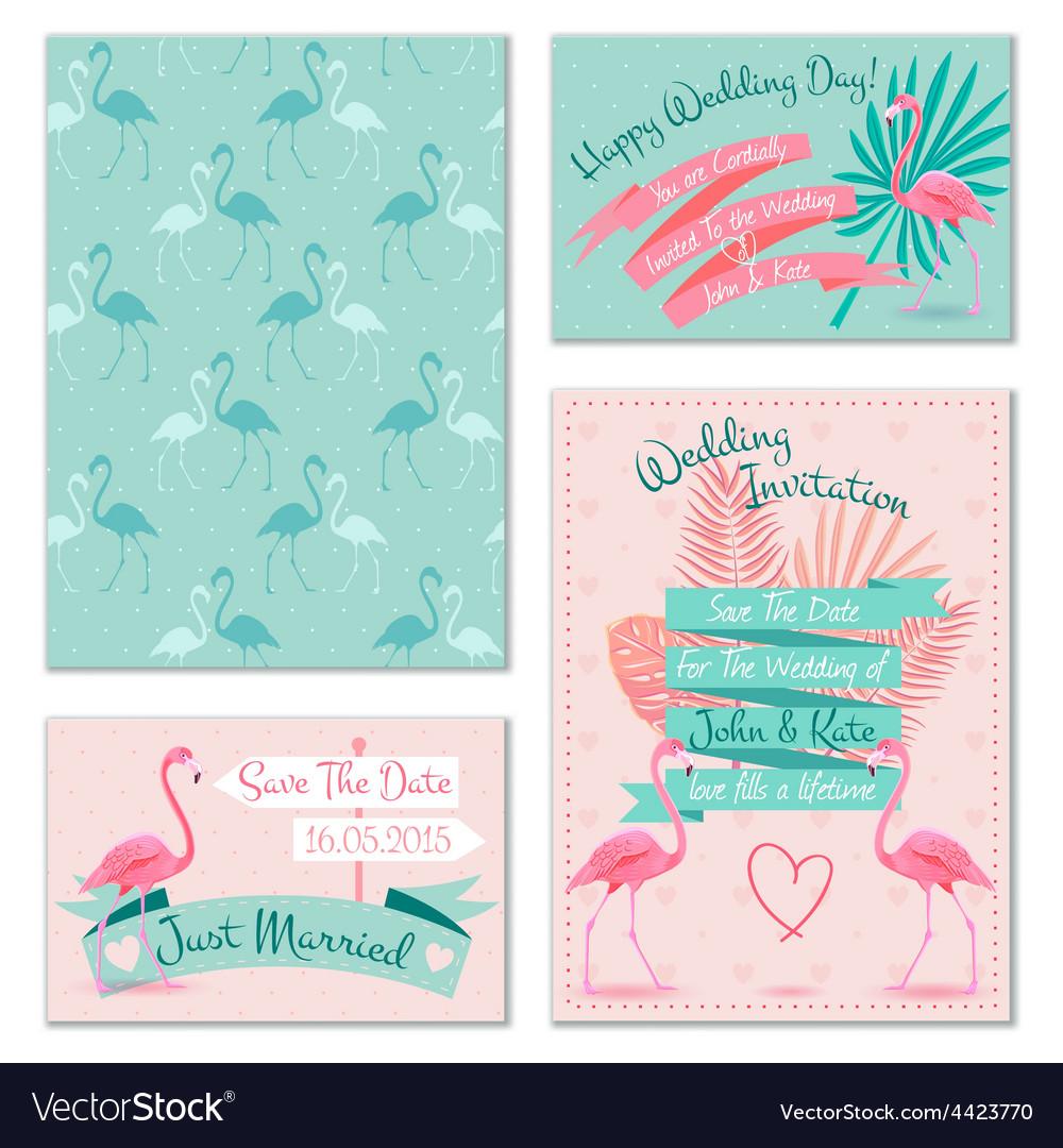 Flamingo wedding invitation cards royalty free vector image flamingo wedding invitation cards vector image stopboris Gallery