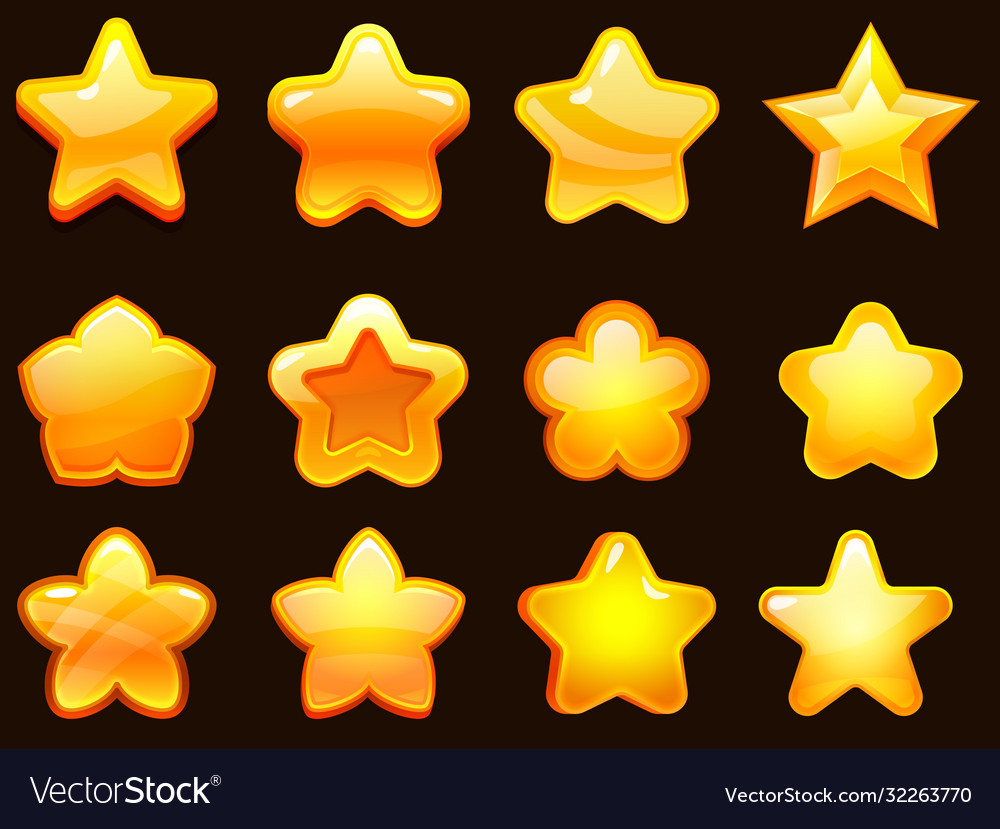 Game ui star cartoonist glossy stars shapes shiny vector