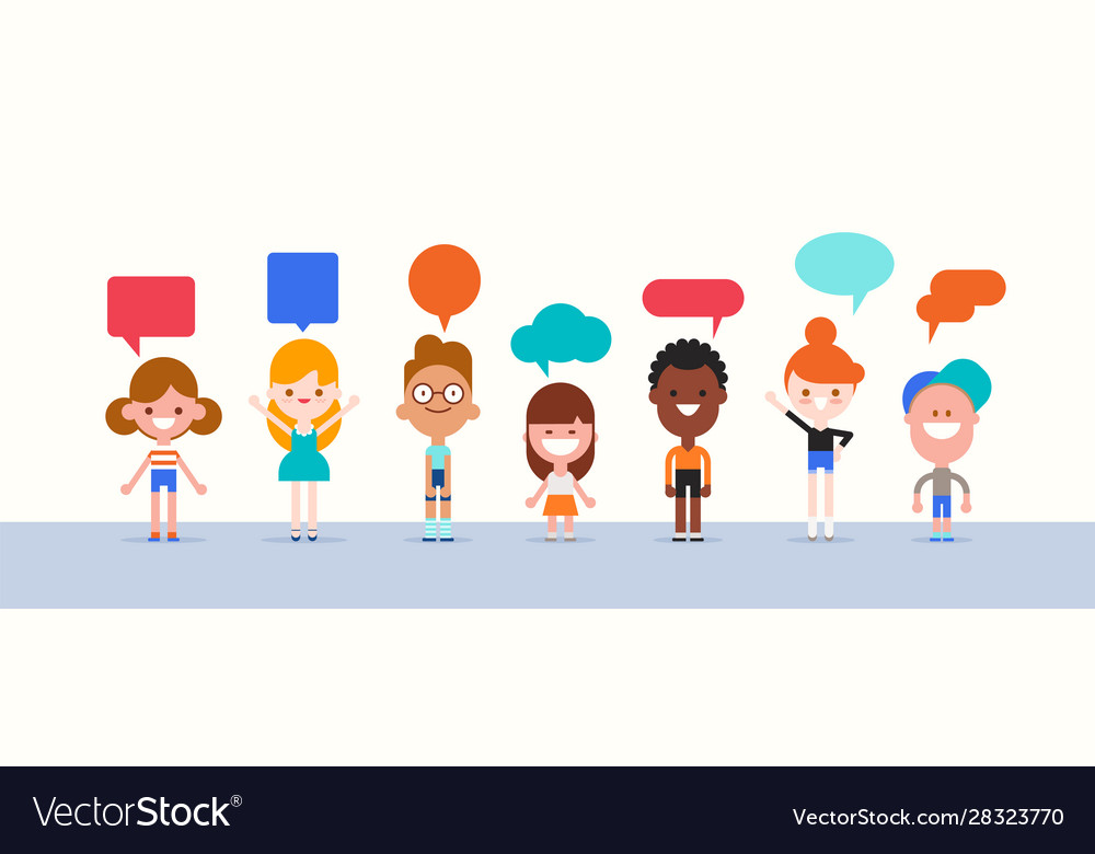 Group kids with speech bubble character in