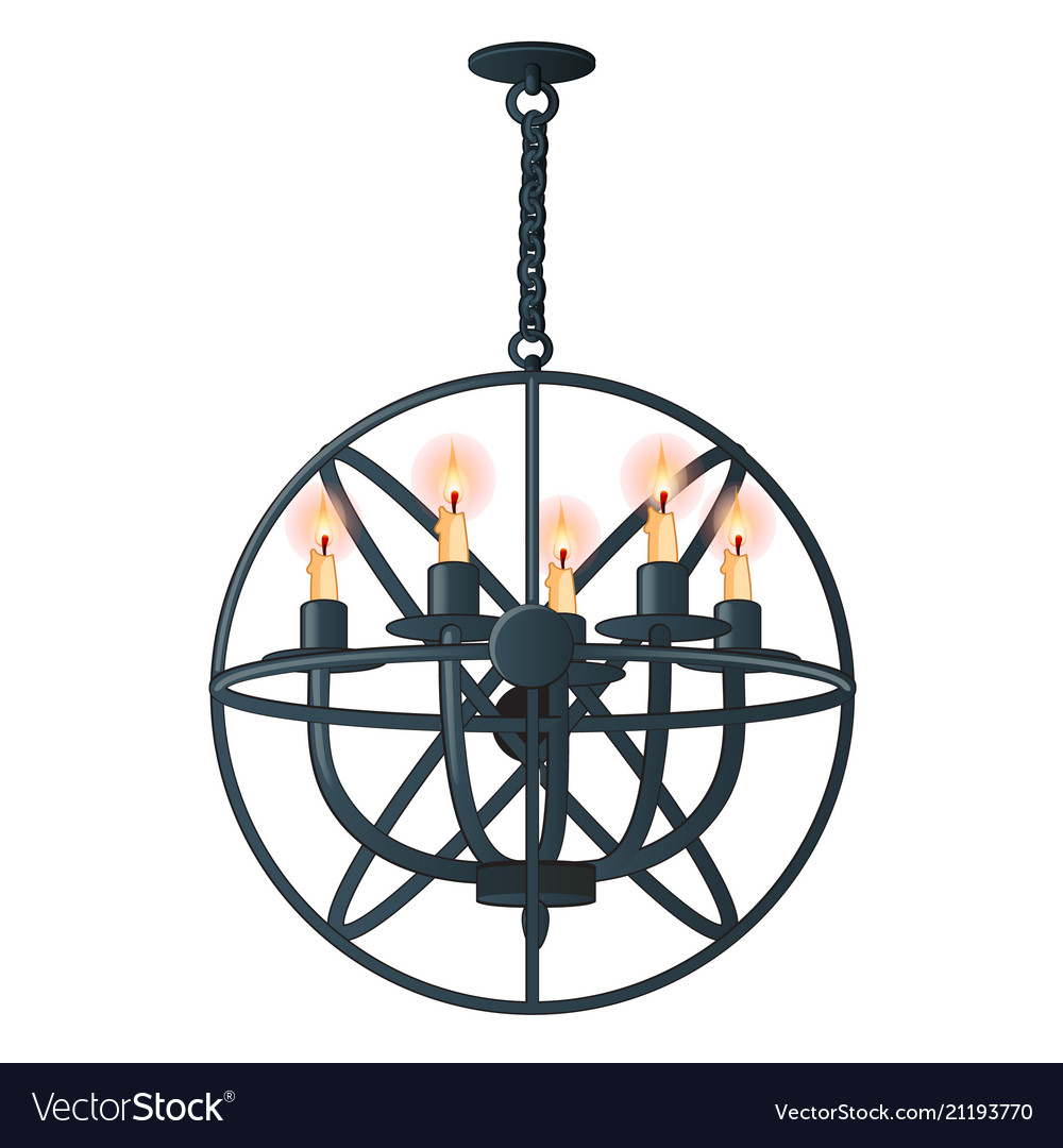 Massive steel chandelier with candles in medieval