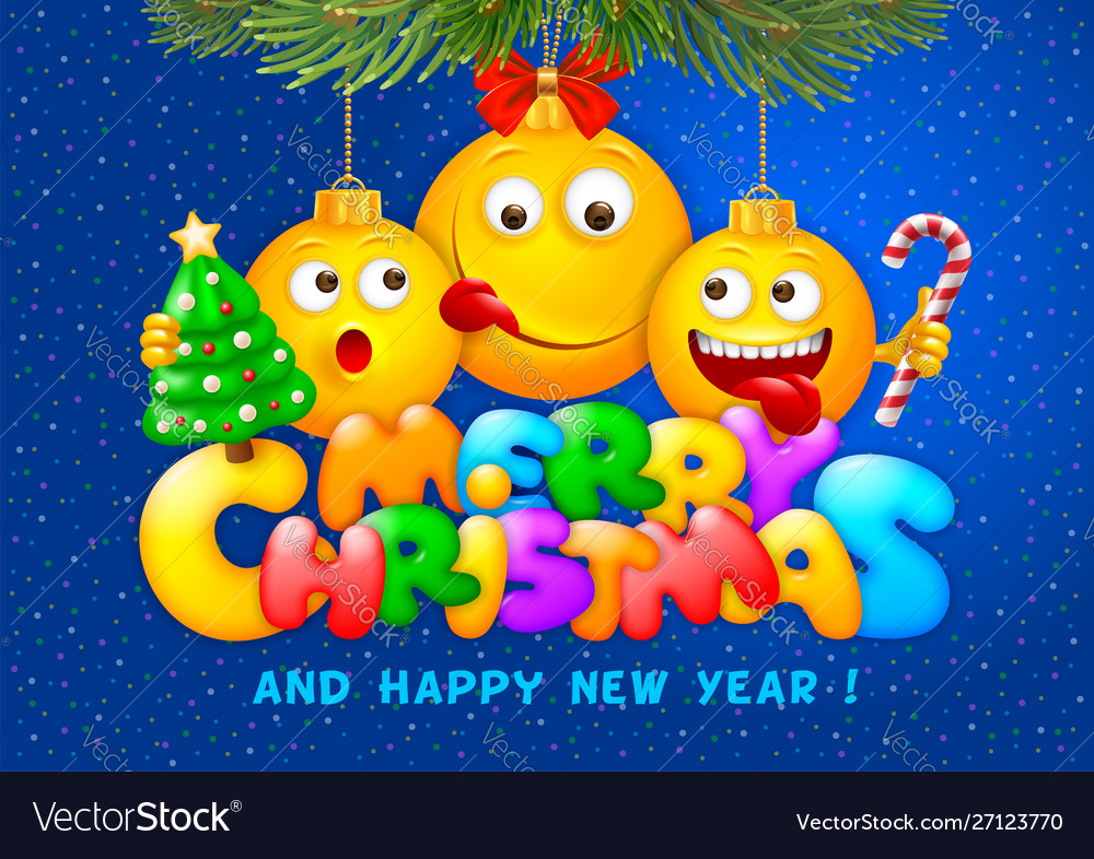 Merry christmas greeting with emoji