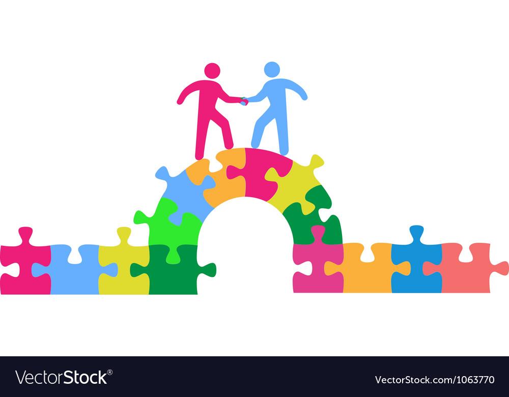 People team up climbing bridge to deal vector image