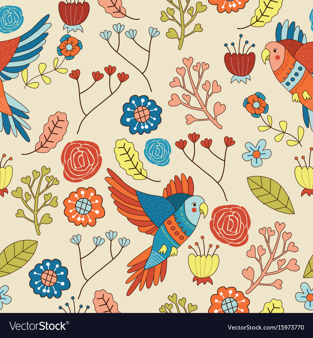 Seamless bird floral pattern wallpaper
