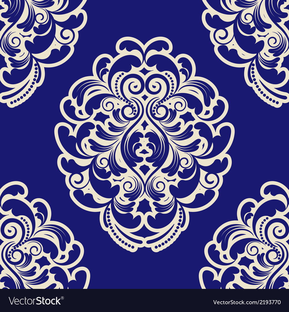 Seamless Blue Damask vector image
