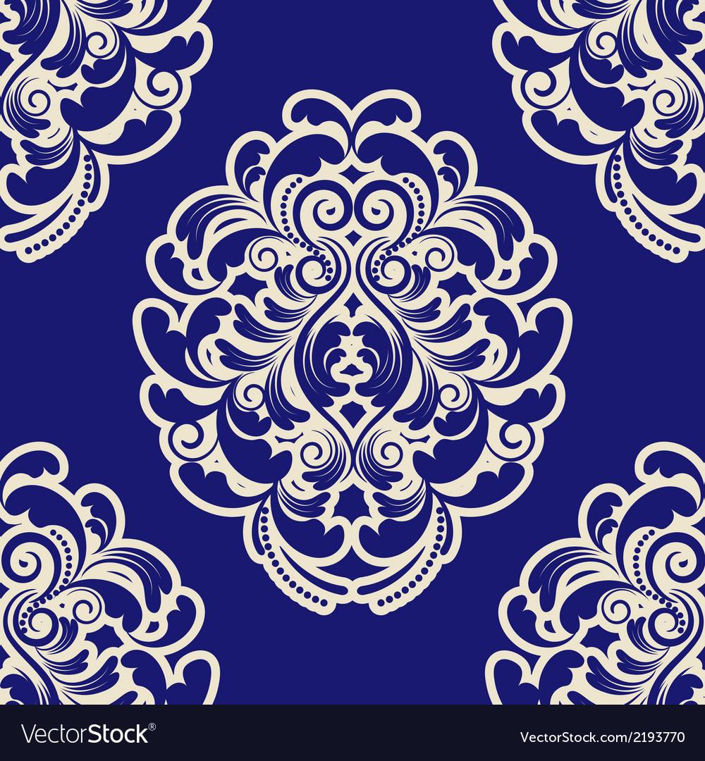 Seamless Blue Damask