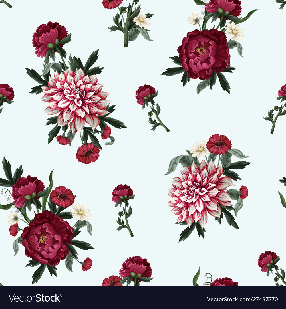 Seamless pattern with dahlia peonies and wild