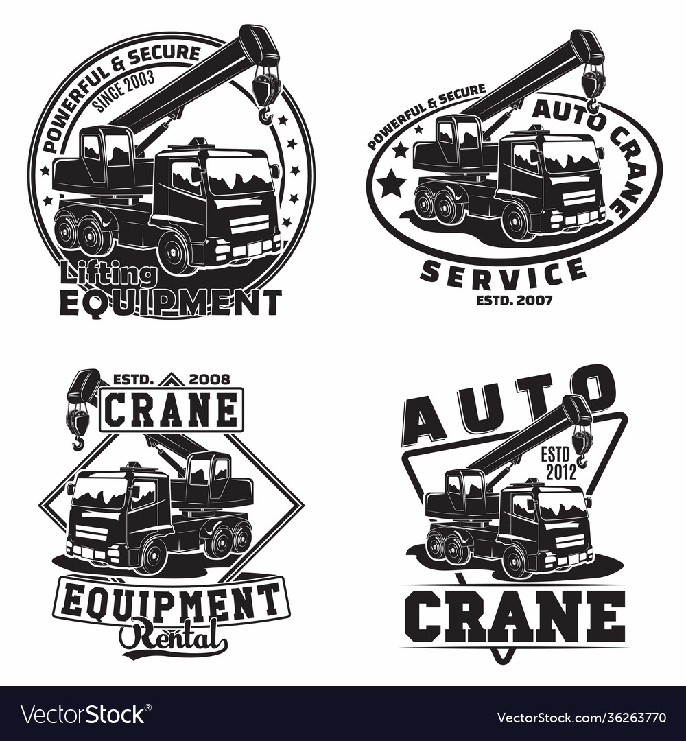 Set vintage heavy crane machine typography