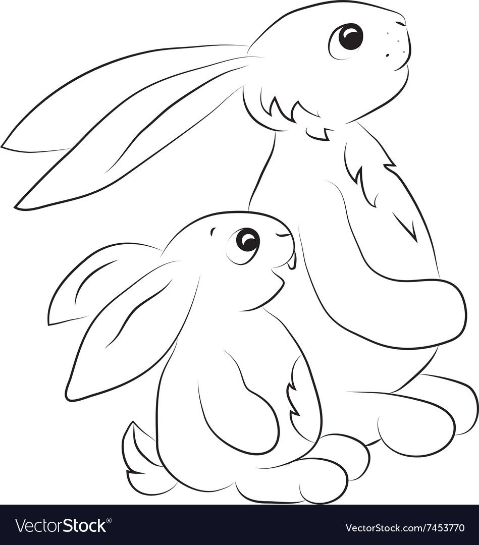 Two rabits looking towards outline