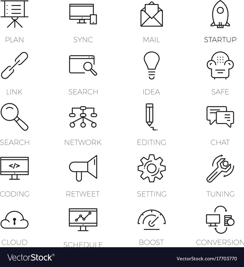 Web development icons set outline style