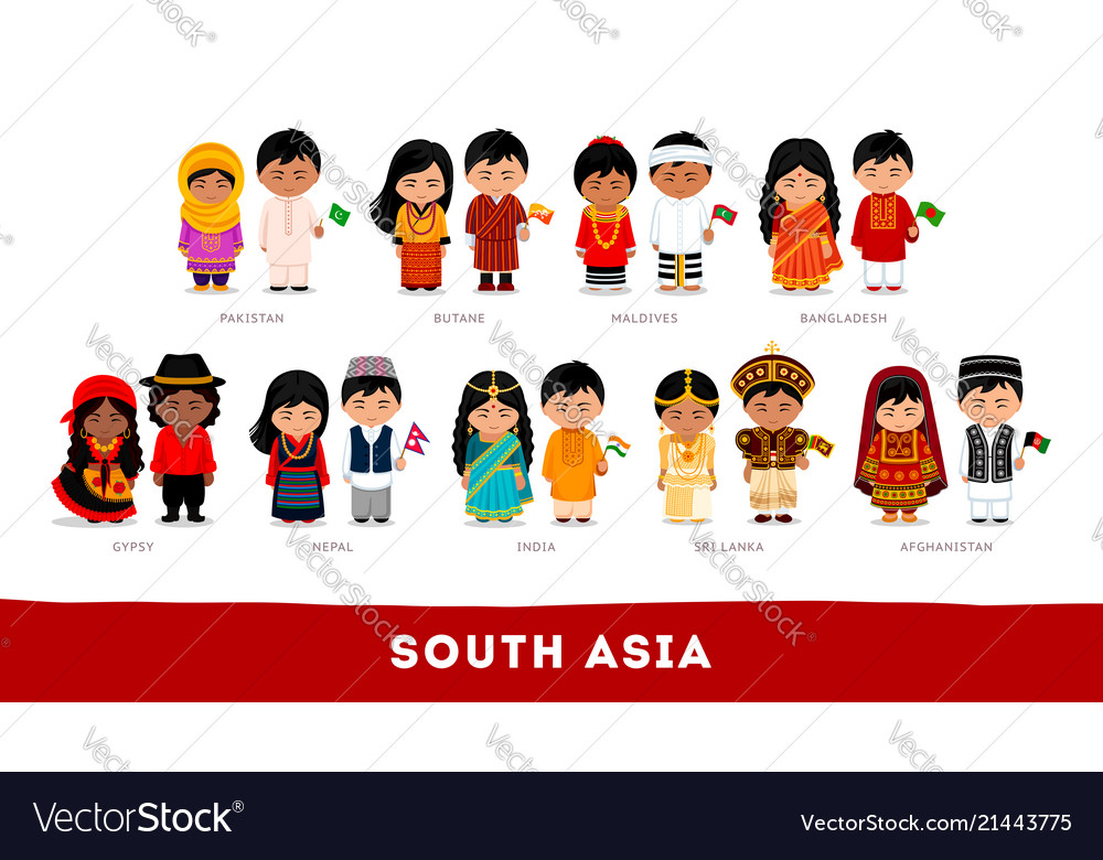 Asians in national clothes south asia set of