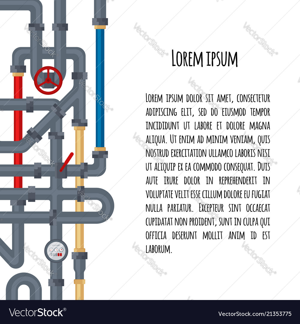 Background with tubes and pipelines on white and