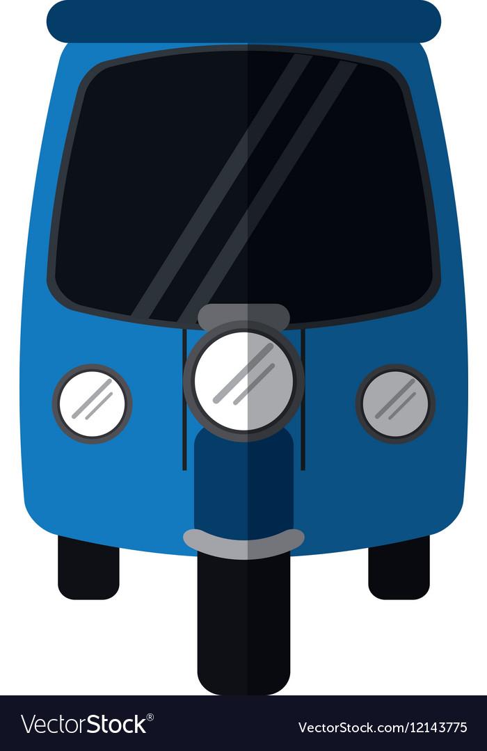 Blue motor rickshaw transport tricycle vector image