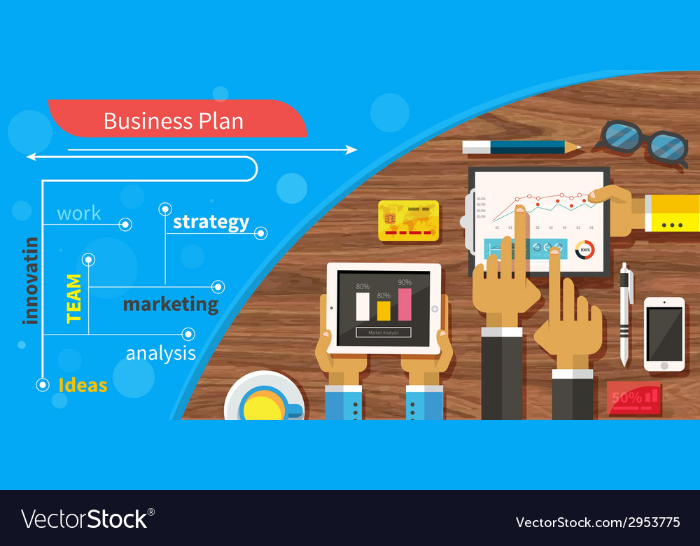Business plan strategy with touchscreen