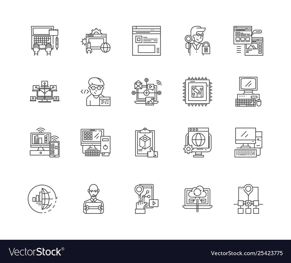Computer programming line icons signs set