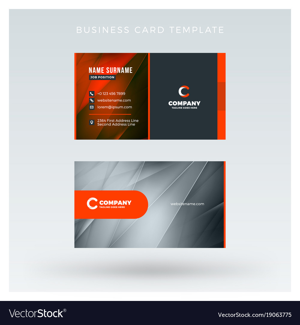 creative and clean double sided business card vector image