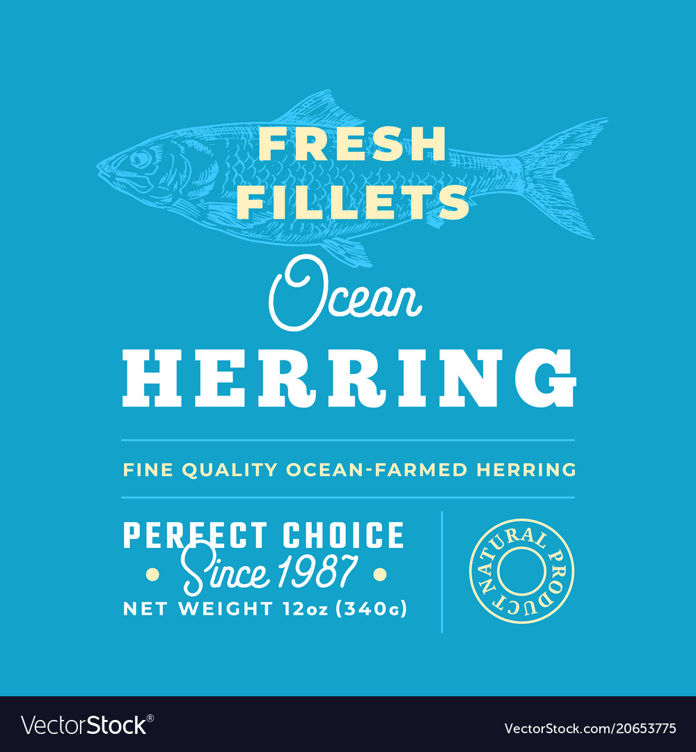 Fresh fillets premium quality label abstract