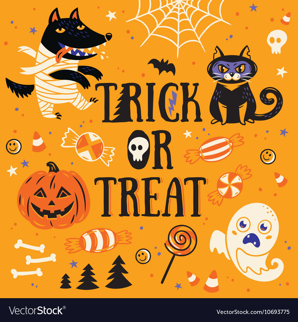 Greeting Card For Halloween Trick Or Treat Vector Image