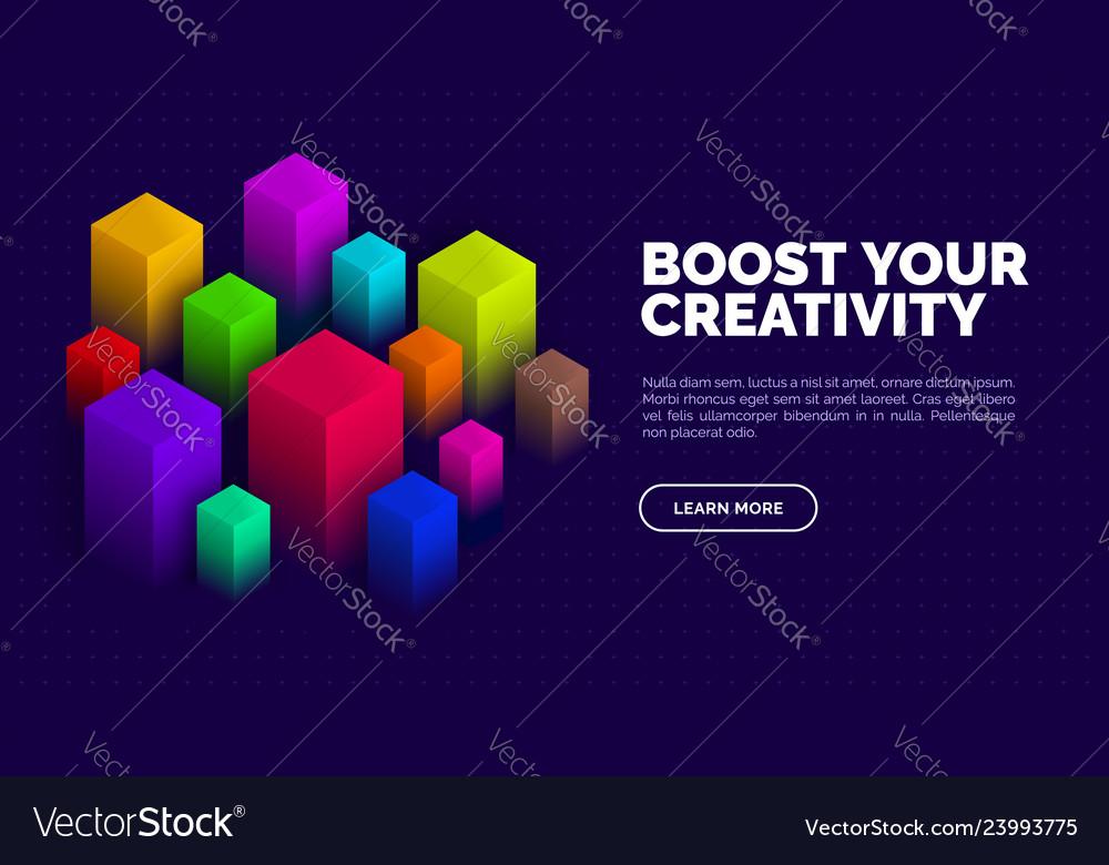 Isometric abstract design geometric blocks on