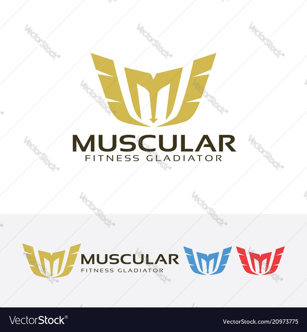 Letter m - muscle fitness gladiator logo design