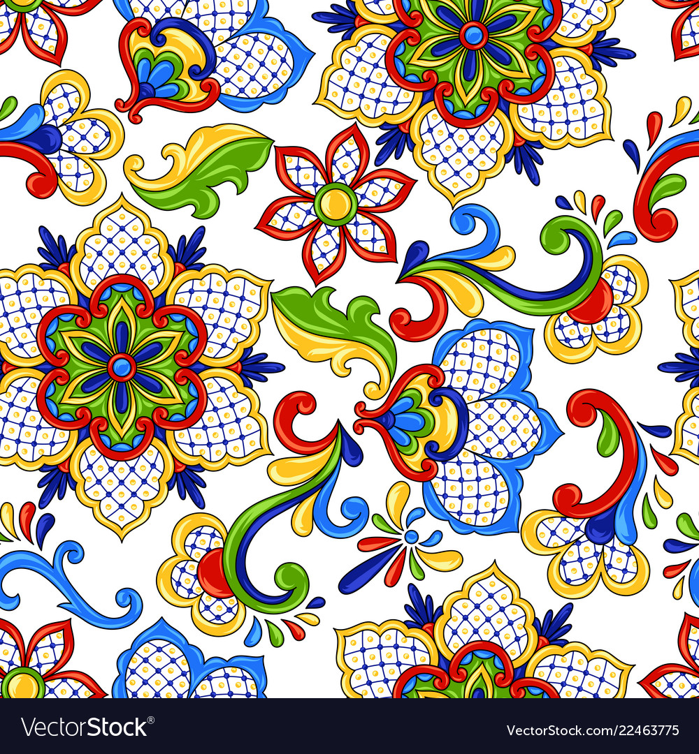 Mexican Seamless Pattern Flowers