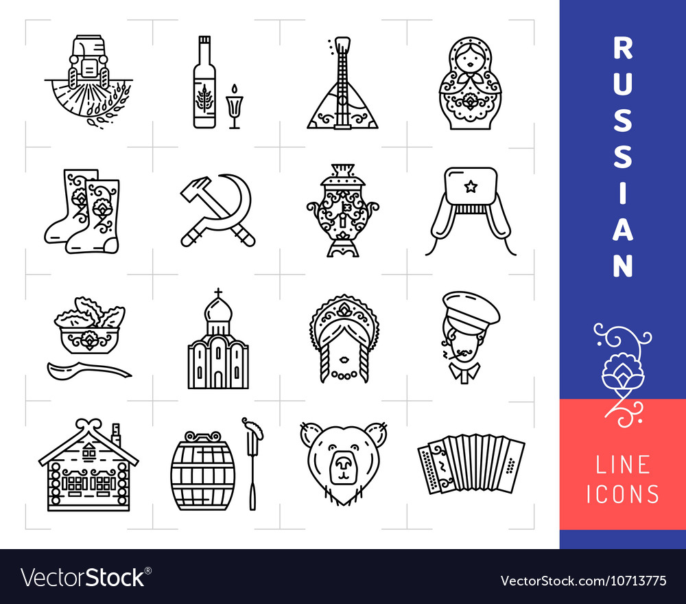 Russian culture black thin line icons Russia vector image