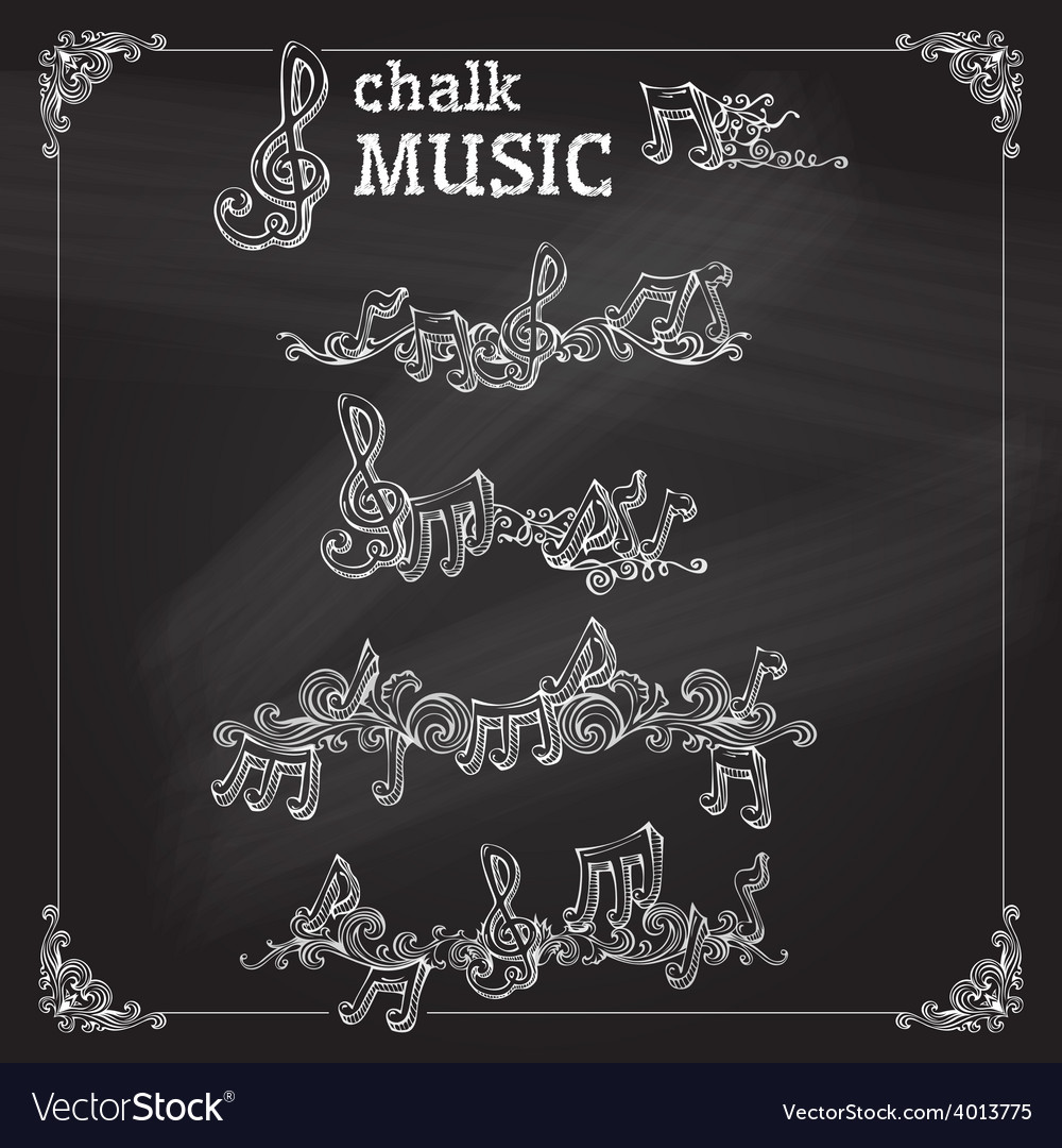 Set of chalk music page decorations