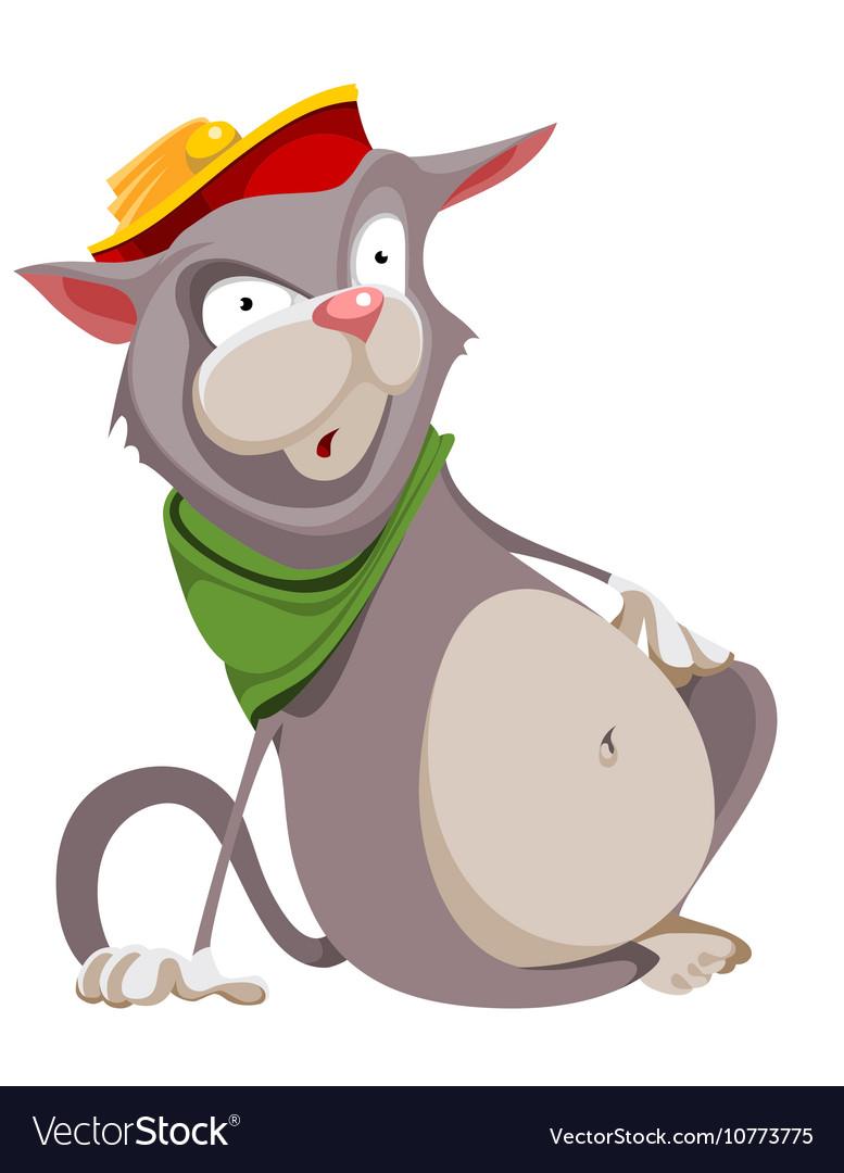 Surprised cartoon fat cat in the hat vector image