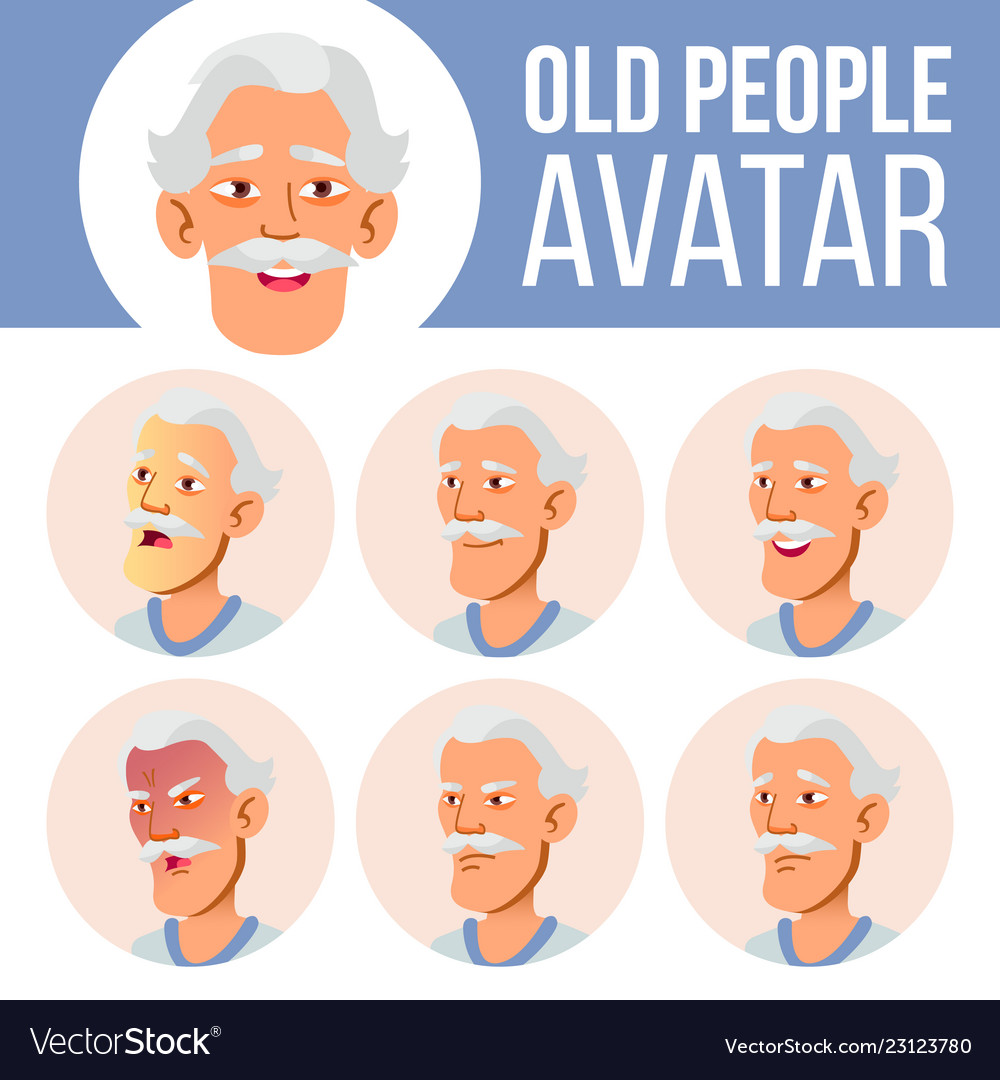 Asian old man avatar set face emotions