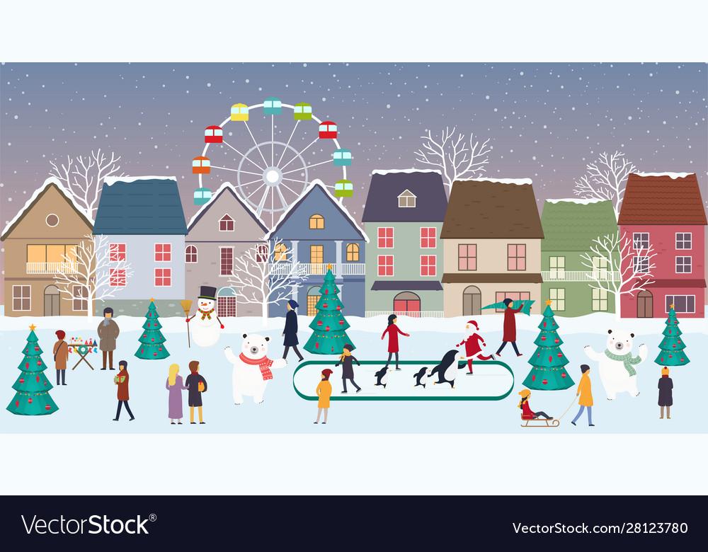 Christmas fair winter landscape in city