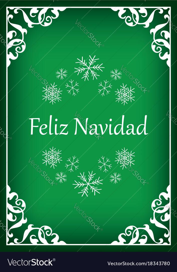 Feliz Navidad Green Vintage Christmas Card Vector Image