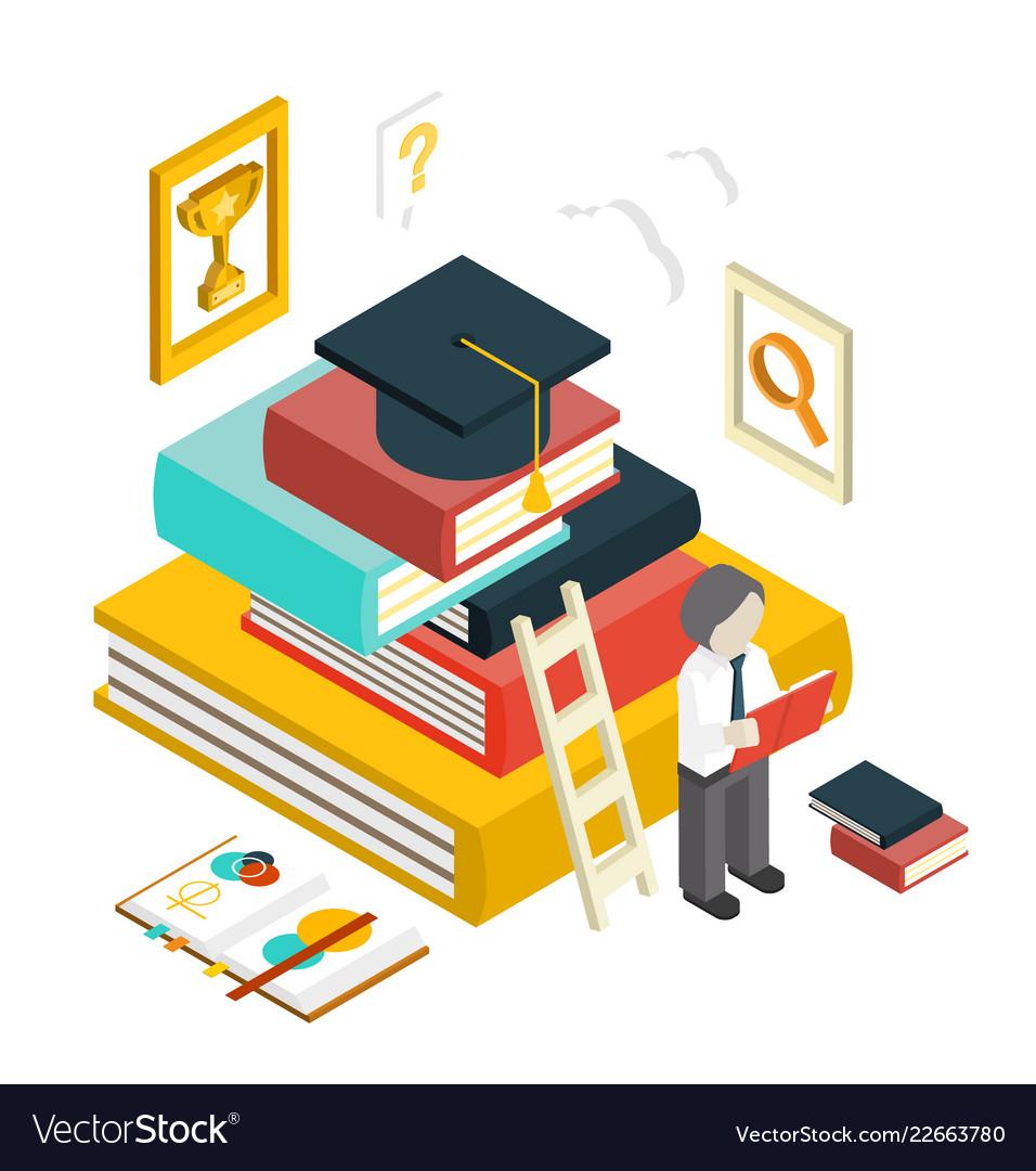 Flat 3d web isometric education graduation