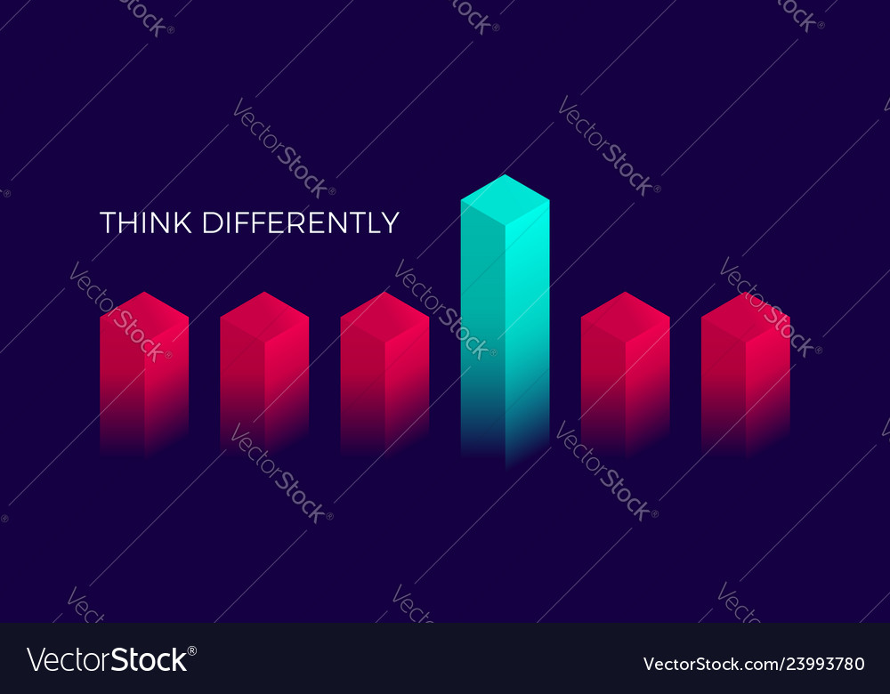 Isometric think differently design geometric