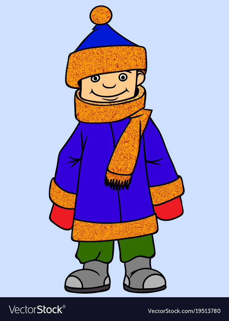 Little boy wearing winter clothes Royalty Free Vector Image