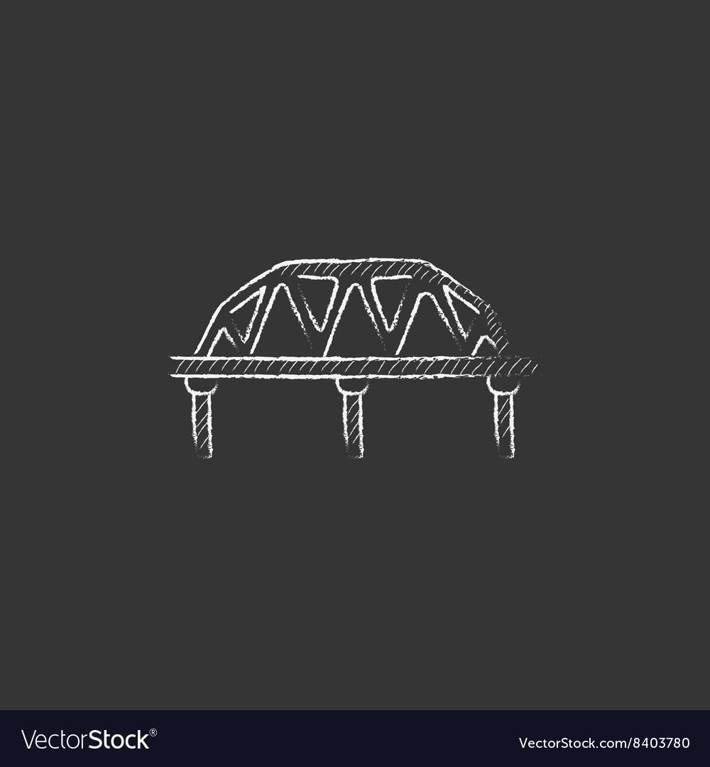 Rail way bridge Drawn in chalk icon