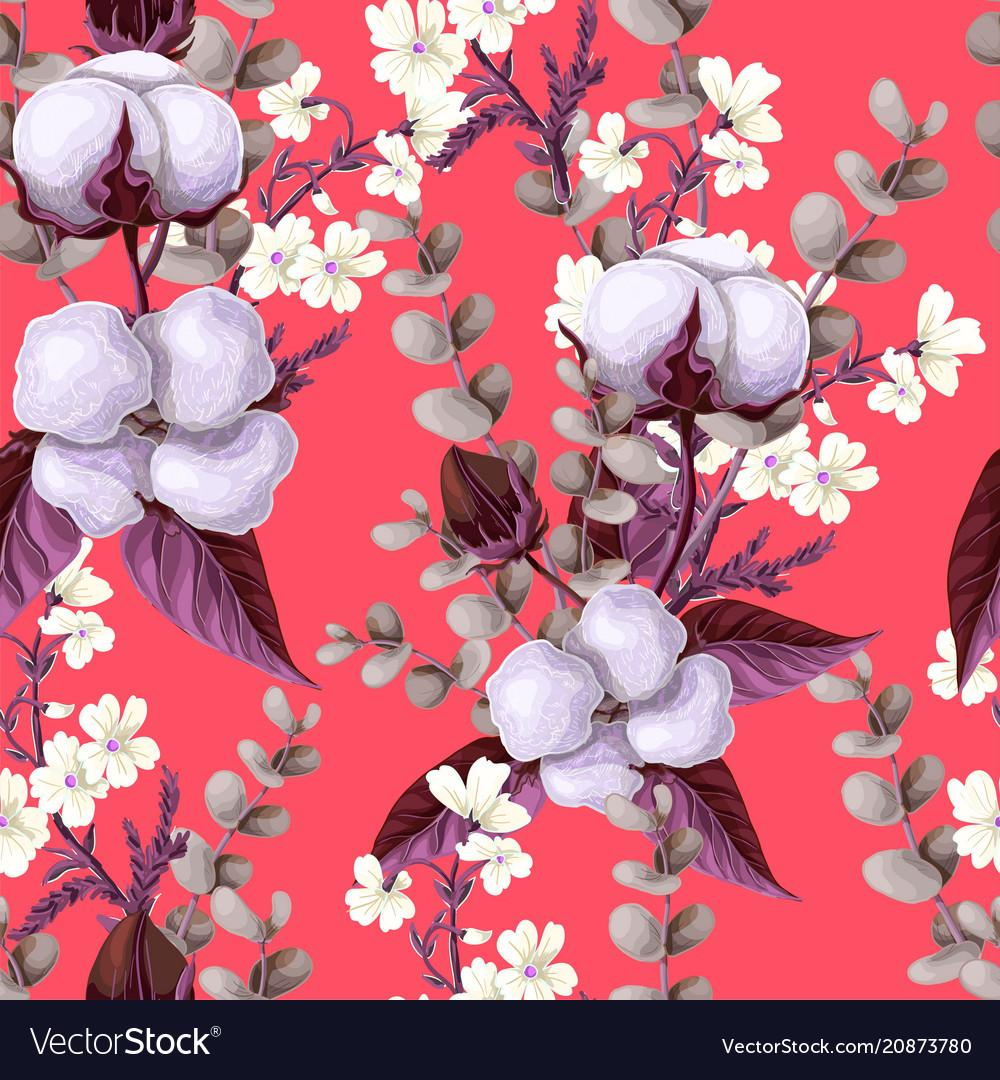 Seamless pattern with cotton flowers eucalyptus